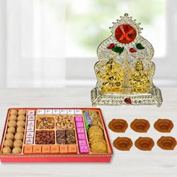 Excellent Diwali Sweets n Snacks Combo with Laxmi Ganesh Mandap, Free 6 Diya to Alapuzha