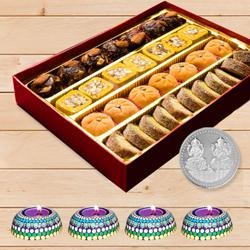 Premium Assorted Mawa Sweets with Handmade Designer Diya, Free Coin to Aligarh