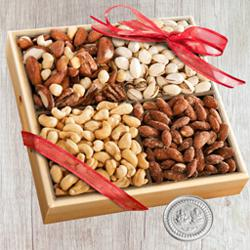 Exclusive Wooden Tray of Assorted Premium Salted Dry Fruits, Free Coin for Diwali to Alapuzha