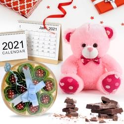 Desk Calender with Happy New Year 2 line SMS Chocolate to Aizwal