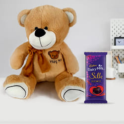 Marvelous Birthday Gift of Teddy with Chocolate for Kids to Abohar