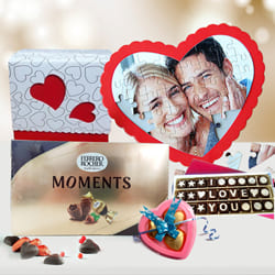 Exclusive Personalized Love Puzzle n Chocolates to Adugodi