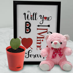 Amazing Photo Frame with Cute Teddy n Hoya Heart Plant to Almora