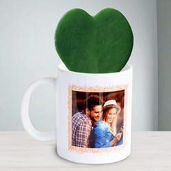 Lovely Hoya Heart Plant in Personalized Coffee Mug to Almora