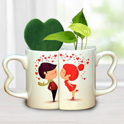 Exclusive Couple Coffee Mug with Hoya Heart n Money Plant to Allasandra