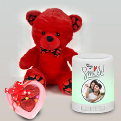 Alluring Personalized Bluetooth Speaker with Cute Teddy N Heart Chocolate to Aligarh