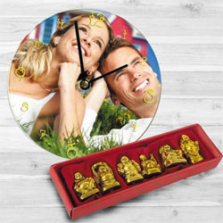 Striking Personalized Photo Wall Clock with Laughing Buddha to Alwar