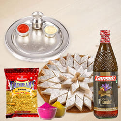 Exclusive Silver Plated Thali with Holi Gift Assortments to Adoor