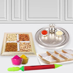 Fantastic Puja Thali with Dry Fruits n Haldirams Kaju Katli for Holi to Adoor