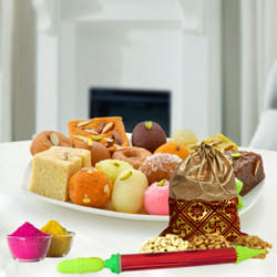 Delicious Assorted Sweets with Dry Fruits Gift Combo for Holi to Adugodi