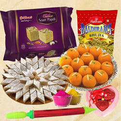 Delightful Sweets n Namkeen Gift Combo for Holi to Adoor