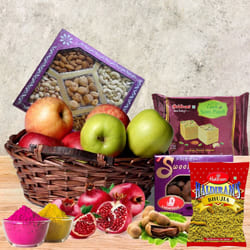 Mouth-Watering Fresh Fruits n Assortments Gift Basket for Holi to Adilabad