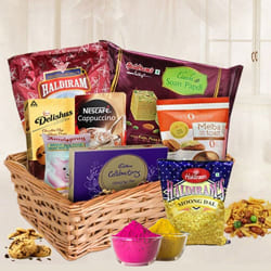Fabulous Holi Gift Basket with Assorted Items to Ahmedabad