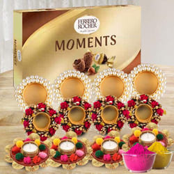 Striking Diya Set with Ferrero Rocher for Holi to Adoor
