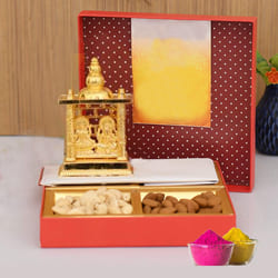 Auspicious Ganesh Laxmi Mandap with Dry Fruits Gift Combo to Adilabad
