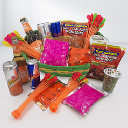 Exciting Holi Gifts Basket of Snacks n Drinks to Adoor