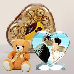 Marvelous Personalized Heart Crystal with Sapphire Chocolate N Cute Teddy to Abohar