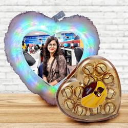 Impressive Personalized LED Heart Fur Cushion with Sapphire Chocolates to Adoor