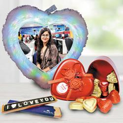 Mesmerizing Personalized LED Heart Fur Cushion n Chocolates Combo to Ahmedgarh