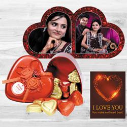 Remarkable Personalized HB Duel Heart with Handmade Chocolates n ILU Card to Abohar