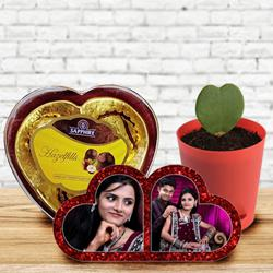 Amazing Personalized HB Double Heart, Zoya Heart Plant n Sapphire Chocolate to Adilabad