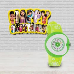 Kids Birthday Delight Personalized Photo Frame n Titan Zoop Watch to Adoor