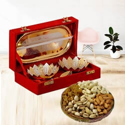 Designer Silver Bowl Gift Set with Crunchy Dry Fruits to Adoni