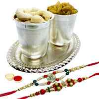 Exquisite Dry fruits in Silver plated glass and tray with 2 free Rakhi, Roli tilak and Chawal to Dehradun