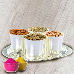 Dry Fruits in Silver Glass and Tray to Solapur