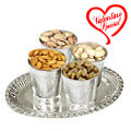 Dry Fruits in Silver Glass and Tray to India