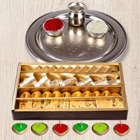 Silver Puja Thali, Diya  N Haldirams Assorted Sweets. to Chandigarh