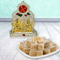 Ganesh Laxmi with Golden Finish N Haldirams Kaju Katli  to Sambhalpur