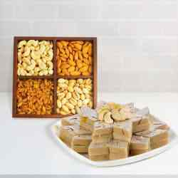 Crunchy Dry Fruits along with delicious Haldiram Kaju Katli gift hamper to Bairgania