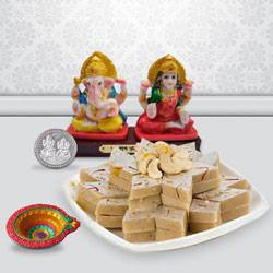 Ganesh Lakshmi with Kaju Kesar Katli from Haldiram to Gurgaon