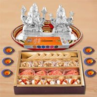 Diwali Puja Thali Hamper with Assorted sweets from Haldirams and Silver Plated Ganesh Lakshmi to Bombay