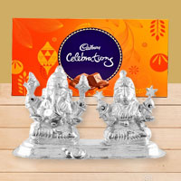 Silver Plated Ganesh Lakshmi with Cadbury�s Celebration to Barrackpore