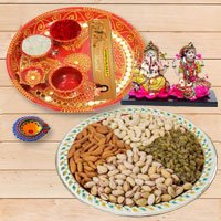 Diwali Puja Thali with Ganesh Lakshmi & Dry Fruits to Gajraula