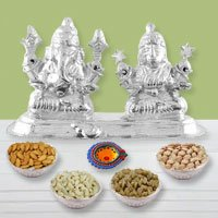 Silver Plated Diwali Hamper with Dry Fruits to Gurgaon