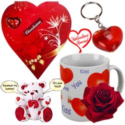 Lovely Valentine Hamper of Heart Shaped Keyring, L... to Sirsi