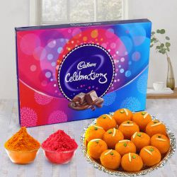 Food Special Wishes with Cadbury Celebrations and Haldirams Laddoo with free Gulal/Abir Pouch  to Gurgaon