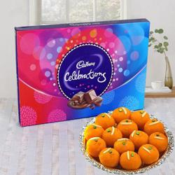Food Special Wishes with Cadbury Celebrations and Haldirams Laddoo  to Baroda