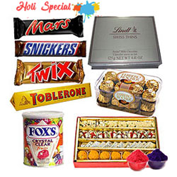 Wholesome Package of Chocolate and Sweet  with free Gulal/Abir Pouch  to Baghalkot