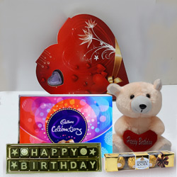 Birthday Special Wishes with Teddy and Chocolate Hamper to Bapatla