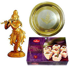 Religious Gift Made with Sandalwood Krishna and Golden Plated Puja Thali with 800 Grms (Gross weight) Soan Papdi from Haldiram to India