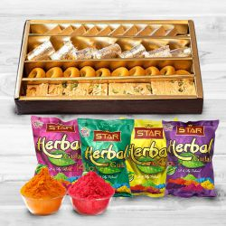 Assorted Sweets from Haldirams with Special Pack of Herbal and Scented Colors Combo to Bhiwani