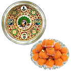 Designer Meenakari styled Subh Labh Stainless Steel Thali with Haldiram Laddoo to India