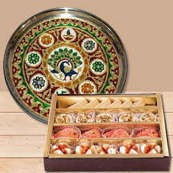 Stylish Meenakari styled Subh Labh Stainless Steel Thali with Haldiram Assorted Sweets to Varanasi