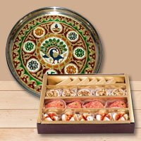Stylish Meenakari styled Subh Labh Stainless Steel Thali with Haldiram Assorted Sweets to Cheyar