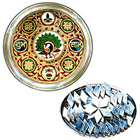 Intricate Designed Meenakari styled Subh Labh Stainless Steel Thali with Haldiram Kaju Katli to Chandigarh