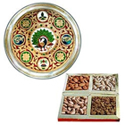 Designer Meenakari styled Subh Labh Stainless Steel Thali with Assorted Dry Fruits to Mumbai